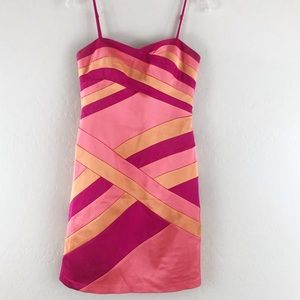 🔥 Decode 1.8 Satin Pink Stripe Dress Fitted 4